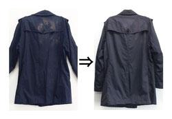 ▲綿100%(裏地あり) バーバリーコート オキシクリーンによるシミ