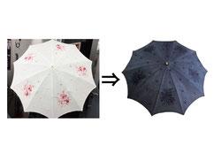 ▲素材不明(おそらく綿) 日傘 黒染め