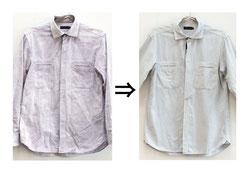 ▲綿100% シャツ 同じ色に染めたい