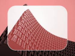 In Rot dargestelltes modernes Bauwerk mit besonderer Fassade - Brandschutzkonzepte und Bauplanung