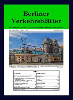 Berliner Verkehrsblätter. Titel August 2019.