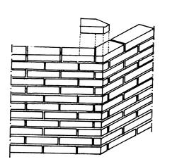 muratura di mattoni a testa disposta ad angolo ottuso con impiego di pezzi speciali