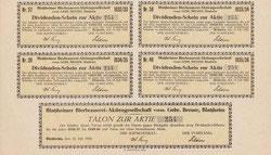 Blatzheimer Bierbrauerei-AG; hier: Ausschnitt vom Kuponbogen der Aktie von 1922