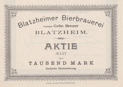 Blatzheimer Bierbrauerei; hier: Aktienrückseite (Ausschnitt) v. 1896