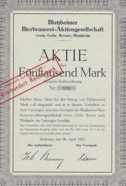Blatzheimer Bierbrauerei-AG v. 1923; wegen Übergröße: Ausschnitt