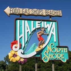ハワイ オアフ島 ノースショア ハレイワの名物看板 日本語貸切タクシー観光ツアーにて