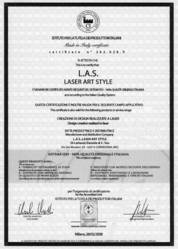 L:A:S Laser Art Style - Certificato Made in Italy
