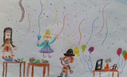 Unser Faschingsfest gemalt von Finja aus der 2a