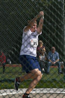 Nachwuchshammerwerfer Justus Leiting warf zum ersten Mal mit dem 5-kg-Hammer: 35,49 Meter sein Ergebnis.