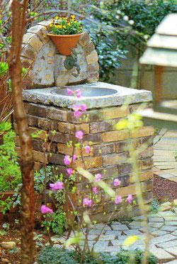 庭ガーデンレンガ蛇口、札幌手稲区