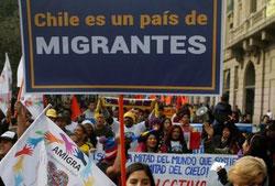 Manifestación en defensa de los emigrantes en Chile. Foto Pressenza