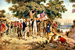 James Cook toma posesión de Nueva Gales del Sur (1770), artista desconocido, del siglo XVIII. Fuente: Wikimedia