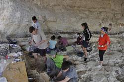 Investigadores durante la última excavación en el yacimiento de Barranco León, en Orce (Granada). / UGR
