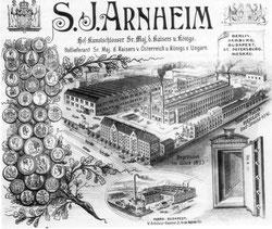 Briefkopf der Firma Arnheim mit Fabrikgelände