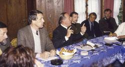 Ein Eindruck von der Pressekonferenz zur Gründungsversammlung des ÖJV 1988 an gleicher Stelle. Von links: Hubert Weinzierl, Baron Sebastian von Rotenhan, Prof. Richard Plochmann, Eugen Syrer, Horst Stern, Prof. Wolfgang Schröder. (Foto © E. Syrer)