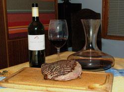 Vin noir et viande bleue