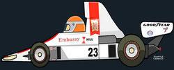 Tony Brise by Muneta & Cerracín - Tony Brise de la escudería Embassy Racing with Graham Hill pilotando un Hill GH1 - Ford Cosworth V8 en el XIº Sveriges Grand Prix de 1975