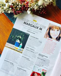 article dans ELLE couronne en fleurs séchées margaux.m.decoration