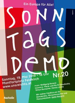 Sonntagsdemo Feldkirch Montfortplatz am 19. Mai um 18:00 Uhr Bild:Plakat zur Veranstaltung