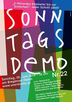 Sonntagsdemo von 'uns reicht,s' in Bregenz am Hafen  Bild:Plakat zur Veranstaltung