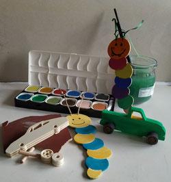 Solche Bücherwürmer und Holzflitzer gibt´s am Frühlingsfest ! Eine tolle gemeinsame Kreativaktion für die ganze Familie!