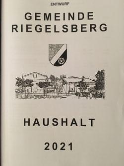 Haushalt der Gemeinde Riegelsberg 2021