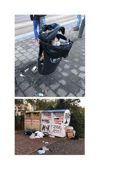 Bild 1 Mutwillig zerstörter Abfalleimer an der Saarbahn-Haltestelle Riegelsberghalle Bild 2 Illegale Müllablagerung am Walter-Wagner-Platz