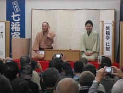 林家笑丸さんの後ろ面(七福寄席 平成30年2月21日)