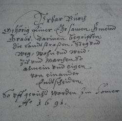 Titelseite des Grabser Urbars von 1691
