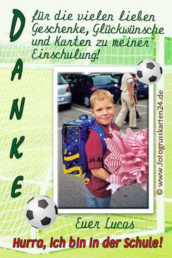 Dankeskarten zur Einschulung Fussball