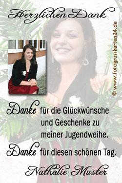 Dankeskarten Jguendweihe mit Foto und Wunschtext