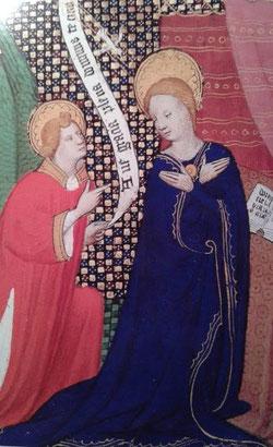 Encarnación, miniado en libro de oraciones del s. XVI, Museo Diocesano de Colonia (Alemania)