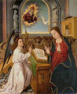 Cuando el ángel está arrodillado y la Virgen lleva vestido rojo se desea representar la Encarnación. Si el ángel está de pie, y María, vestida de blanco, representa la Anunciación
