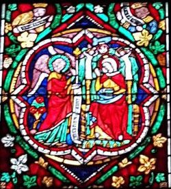Anunciación, vidriera de la catedral de Colonia (Alemania)