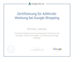 Google Zertifizierung für Werbung bei Google Shopping