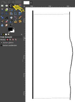 Abb. 6: Links die Orientierungslinie (Tiefe), rechts die Profillinie, dazwischen der ausgewählte Bereich (gestrichelte Umrandung).