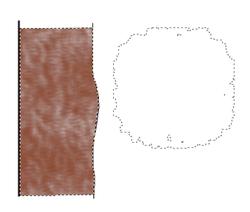 Abb. 7: Die eingefärbte Profilsäule, daneben der Umriss des Grass-Pinsels.