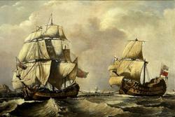 Recreación artística de naves mercantes. Fuente: Wikimedia