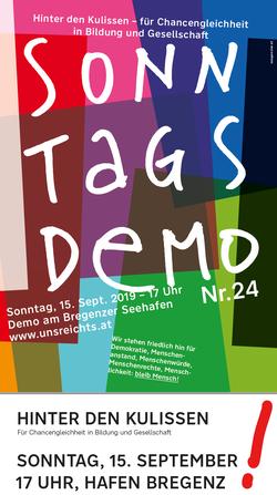 Sonntagsdemo Nr. 24 Thema Bildung von 'uns reicht,s' in Bregenz am Hafen Bild:Plakat zur Veranstaltung