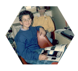 Mini-Me at the age of 10, browsing the ASM (Aktueller Software Markt) for good C16 games, declaring the C64 is the better machine for playing.