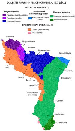 Territorio de Alsacia-Mosela y sus dialectos germánicos
