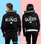 King Queen Kapuzenpullover Hooded Sweatshirt Damen Herren Love Pärchen Top#skh