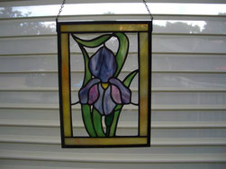 Purple and Pink Iris Stained Glass Panel