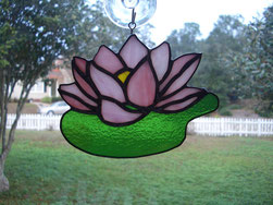 Stained Glass Water Lily Suncatcher