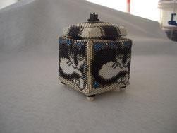 hand stitched glass beaded tuxedo cat kitty beade box