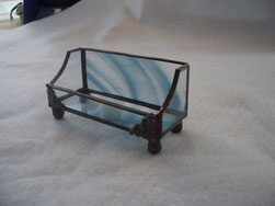 stained glass business card holder tiffany style steel blue baroque glass