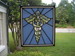 Caduceus Bevel Stained Glass Panel