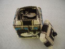 hand stitched glass bead beaded tuxedo cat kitty box jewelry