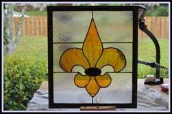 Commission Fleur de Lis Panel ©Acadian Glass Art LLC 2017. All Rights Reserved.