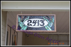 Art Glass Custom Address Sign - Front View
